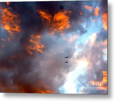Sedona Sunset Ravens Metal Print by Marlene Rose Besso