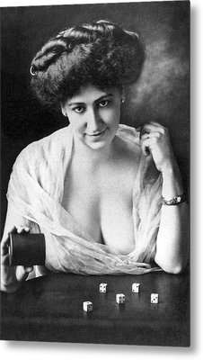 Seductive Woman Rolls The Dice Metal Print by Underwood Archives