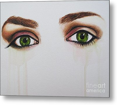Seeing Into The Soul Serious Metal Print by Malinda  Prudhomme