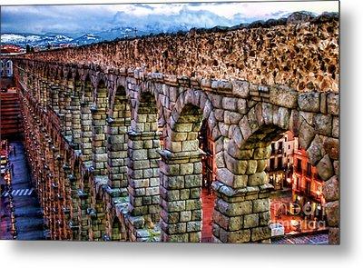 Segovia Aqueduct Spain By Diana Sainz Metal Print by Diana Sainz