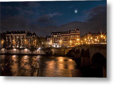Seine River At Night Metal Print