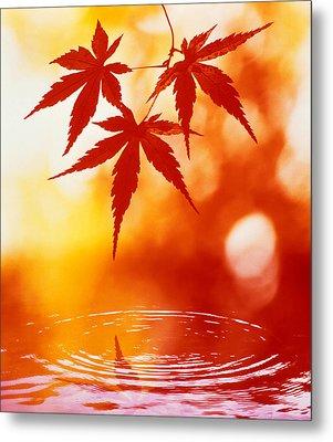 Selective Focus Of Red Leaves Metal Print