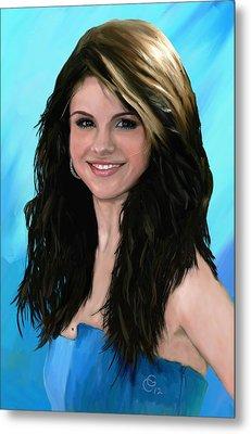 Selena Gomez Blue Metal Print by GCannon