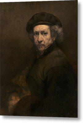 Self-portrait, 1659 Oil On Canvas Metal Print by Rembrandt Harmensz. van Rijn