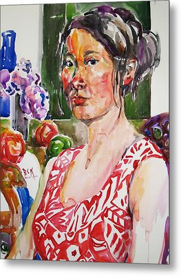 Self Portrait 9 - With Still Life Metal Print by Becky Kim
