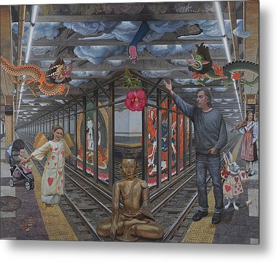 Self Portrait At 14th Street Station Metal Print by Alfredo Arcia