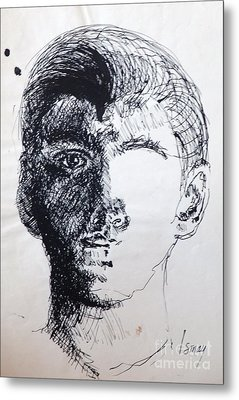 Metal Print featuring the drawing Self Portrait At 21 by Rod Ismay