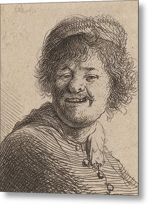 Self Portrait In A Cap Laughing Metal Print by Rembrandt