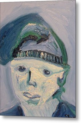 Self Portrait In Blue And Green Metal Print by Shea Holliman