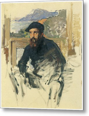 Self-portrait In His Atelier Metal Print by Claude Monet