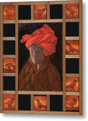 Self-portrait In The Red Turban Metal Print by Alla Parsons