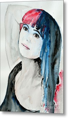 Metal Print featuring the painting Self Portrait  by Ismeta Gruenwald