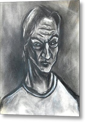 Metal Print featuring the drawing Self-portrait Wearing T-shirt - 1983 by Kenneth Agnello