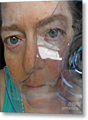 Self Portrait With Broken Glass Metal Print by Sarah Loft