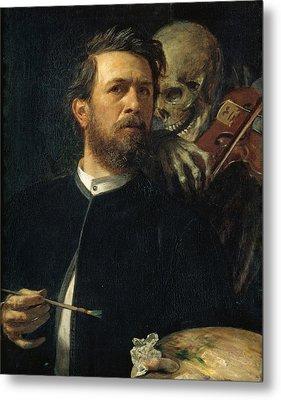 Self Portrait With Death Metal Print by Arnold Bocklin