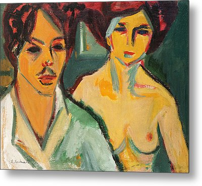 Self Portrait With Model Metal Print by Ernst Ludwig Kirchner