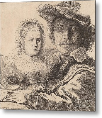 Self Portrait With Saskia Metal Print by Rembrandt