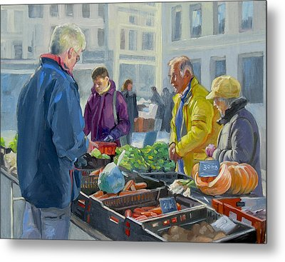Selling Vegetables At The Market Metal Print by Dominique Amendola