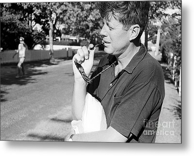 Senator John F. Kennedy And Jacqueline 1959 Metal Print by The Harrington Collection
