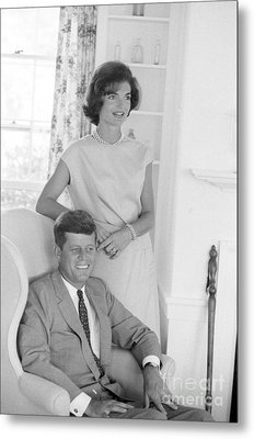 Senator John F. Kennedy And Jacqueline At Hyannis Port 1959 Metal Print by The Harrington Collection