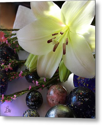 Metal Print featuring the photograph Send The Light Lily With Marbles by Bonnie Willis