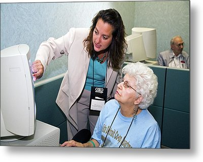 Senior Citizen Learning To Use Computer Metal Print by Jim West