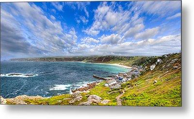 Sennen Cove Panorama - Cornwall Metal Print
