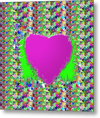 Metal Print featuring the photograph Sensual Pink Heart N Star Studded Background by Navin Joshi