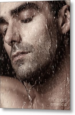 Sensual Portrait Of Man Face Under Pouring Water Metal Print by Oleksiy Maksymenko