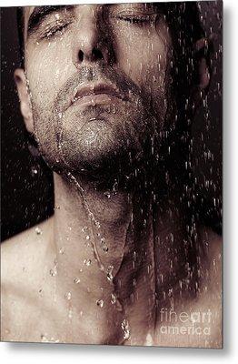 Sensual Portrait Of Man Face Under Shower Metal Print by Oleksiy Maksymenko