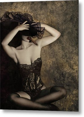 Sensuality In Sepia - Self Portrait Metal Print by Jaeda DeWalt