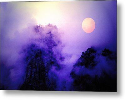 Sentinal Rock And Moon Shrouded In Mist Metal Print