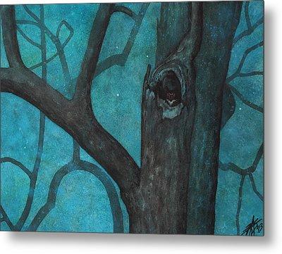 Sentinel Or Great Horned Owl In Cottonwood Tree Metal Print