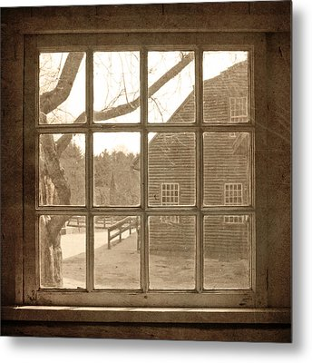 Sepia Colonial Scene Through Antique Window Metal Print by Brooke T Ryan