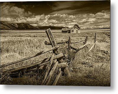 Sepia Colored Photo Of A Wood Fence By The John Moulton Farm Metal Print by Randall Nyhof