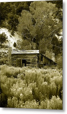 Sepia Country Cabin Metal Print