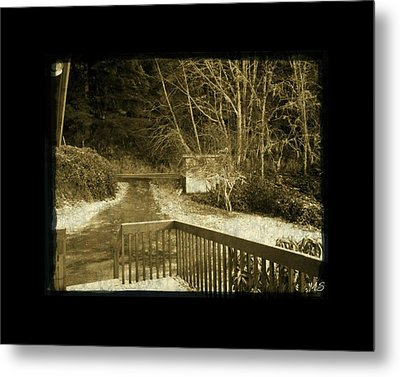 Sepia - Country Road First Snow Metal Print by Absinthe Art By Michelle LeAnn Scott
