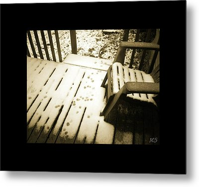 Sepia - Nature Paws In The Snow Metal Print by Absinthe Art By Michelle LeAnn Scott