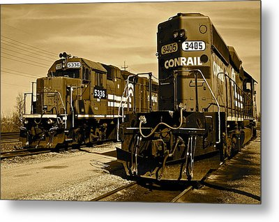 Sepia Trains Metal Print by Frozen in Time Fine Art Photography