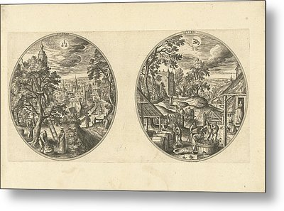 September And October, Adriaen Collaert, Hans Bol Metal Print by Adriaen Collaert And Hans Bol And Hans Van Luyck