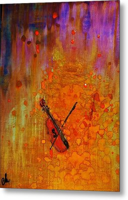 Metal Print featuring the painting Serenade For A Rainy Day... by Cristina Mihailescu