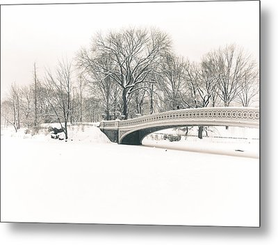 Serenity - Bow Bridge In The Snow - Central Park Metal Print by Vivienne Gucwa