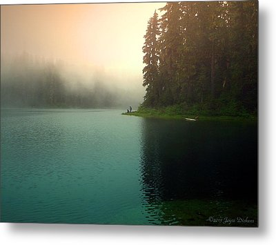 Serenity On Blue Lake Foggy Afternoon Metal Print by Joyce Dickens