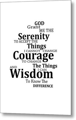 Serenity Prayer 6 - Simple Black And White Metal Print by Sharon Cummings