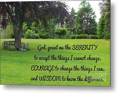 Serenity Prayer And Park Bench Metal Print by Barbara Griffin