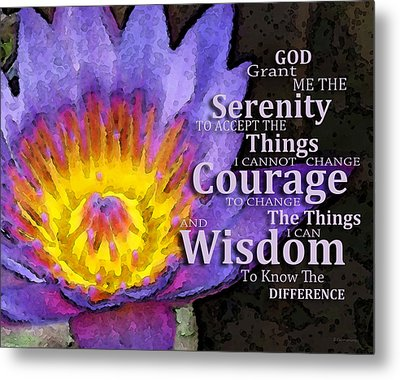 Serenity Prayer With Lotus Flower By Sharon Cummings Metal Print by Sharon Cummings