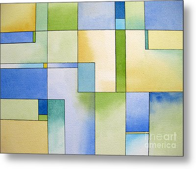Serenity Watercolor Pen And Ink Geometric Abstract Painting Metal Print by Cherilynn Wood