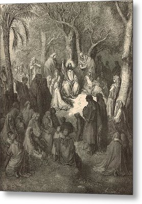 Sermon On The Mount Metal Print by Antique Engravings