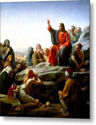 Sermon On The Mount Watercolor Metal Print by Carl Bloch