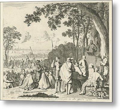 Sermons Outside Antwerp, 1566, Belgium, Jan Luyken Metal Print by Jan Luyken And Abraham Wolfgang